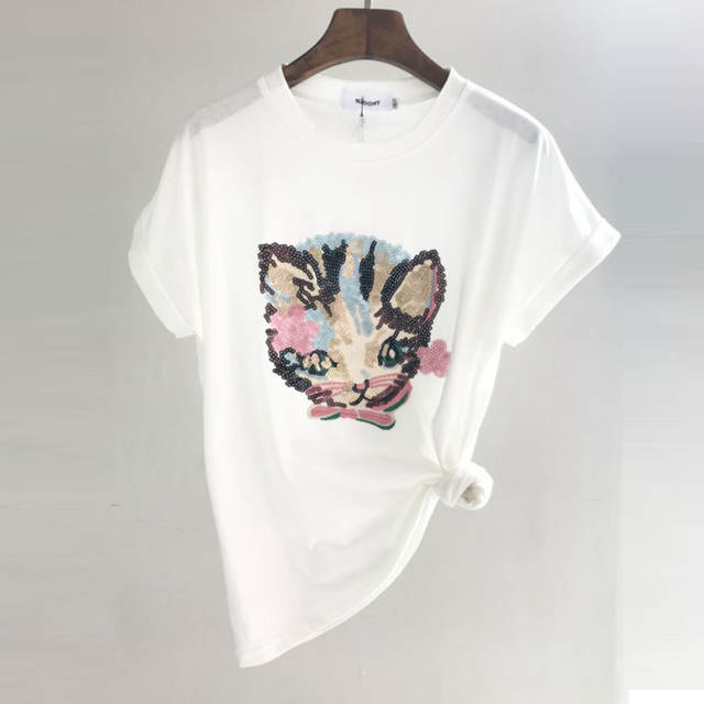 c60105e26ad MLCRIYG Tee Camisa Branca Mulheres Projeto Do Gato Camisetas Lantejoulas  T-shirt Novidade O Pescoço de Manga Curta de algodão Bordado gato Topos