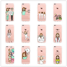 Fashion Spain Cartoon Medicine Nurse Doctor Dentist for Iphone 5 5 s 5 c 6 6plus 7 7plus Soft silicone TPU Clear cover