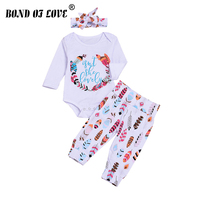 Kids Clothes Set Girl Baby Bodysuit Long Sleeve Cotton Letter Bodysuit Pant Headband 3pc Baby Clothing