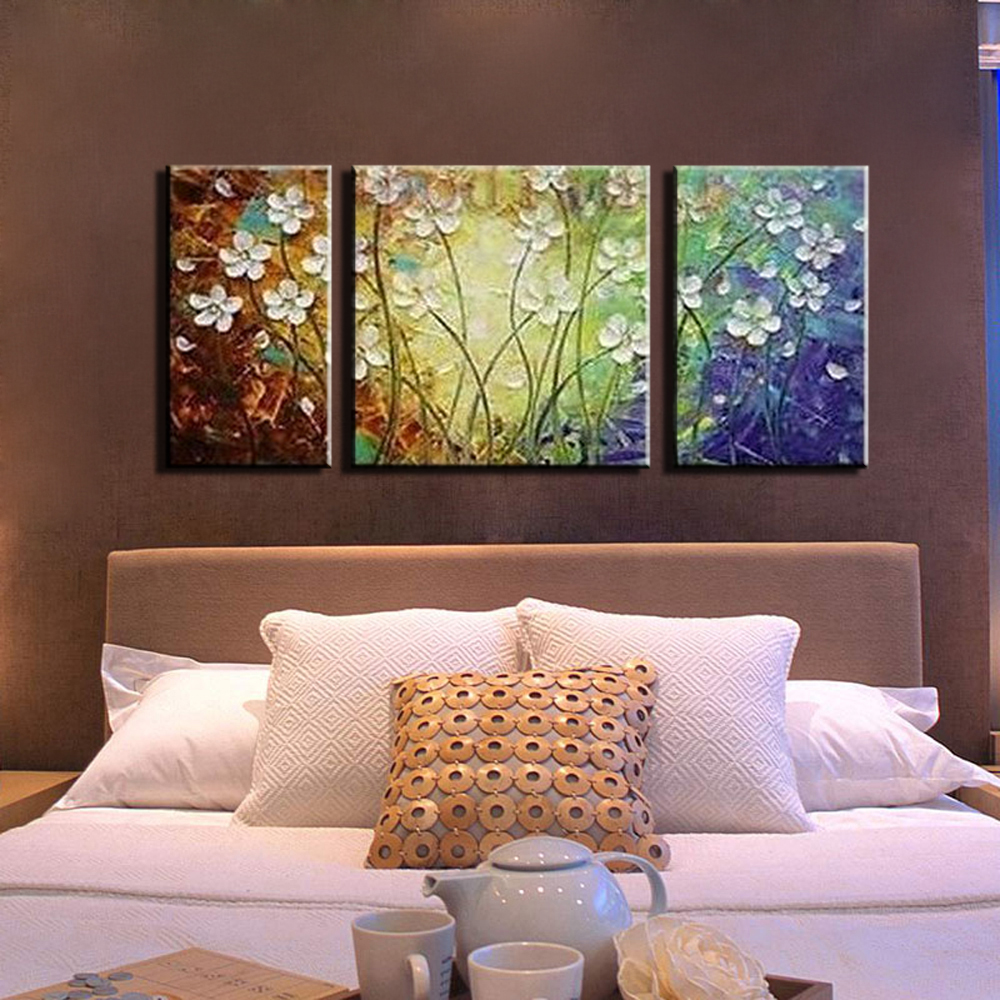 ... Acrylic 3 Piece Canvas Wall Art Colorful Canvas Pictures Flower  Frameless Wall Decor Painting For Living Part 81