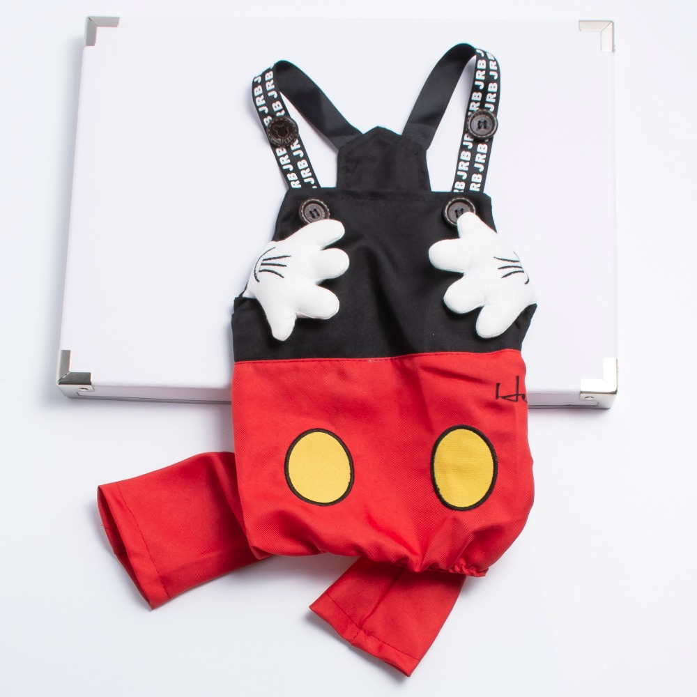 Fashion Small Dog Jumpsuit Bib Overalls Mickey Design Chihuahua Poodle Costume Clothing S-XXL