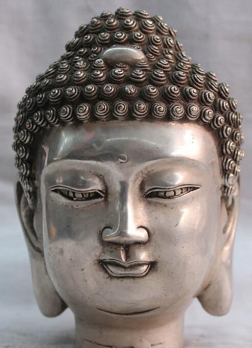 Chinese Tibet Tibetan Buddhism Silver Shakyamuni Buddha Head Bust Statue Figure R0710 (B0328)|figure statues|figure bust|figure head - title=