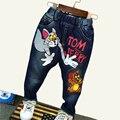 2-7yrs Niños Jeans Niños de la Marca de Ropa de Otoño Muchachas de Los Bebés Pantalones Vaqueros de Dibujos Animados Del Gato y el Ratón Niños Vaqueros Niños Pantalones Casuales