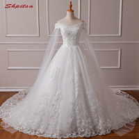 White Ivory Ball Gown Wedding Dresses Women Princess Weeding Weddingdress Tulle Lace 2019 Bride Bridal Plus Size Wedding Gowns