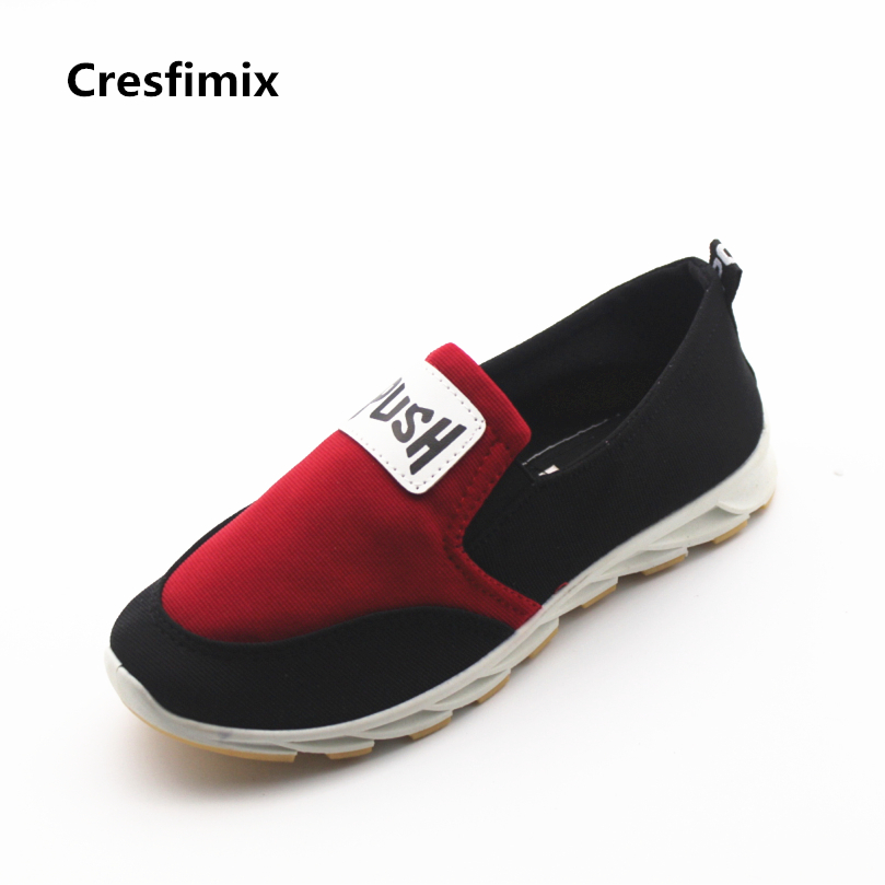 Cresfimix women cute canvas slip on round toe flat shoes lady casual patchwork spring & summer rubber flats sapatos femininos cresfimix sapatos femininas women casual soft pu leather flat shoes with side zipper lady cute spring