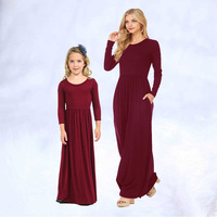 2019 Mother Daughter Dresses Solid Color Mom and Daughter Dress for Outfits Long Girls Dress Family Matching Clothes