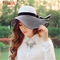 2016 Fashion Women's Caps Summer Wide Brim Cap Women's Headdress Sunbonnet Handmade knitted Hat Female Fedoras Outdoor Shade Hat