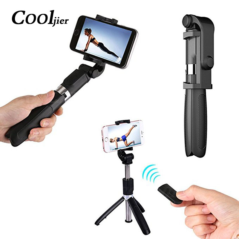COOLJIER Universal inalámbrico Bluetooth Selfie Stick Mini plegable teléfono trípode extensible monopié para iPhone 8X7 6 S Plus