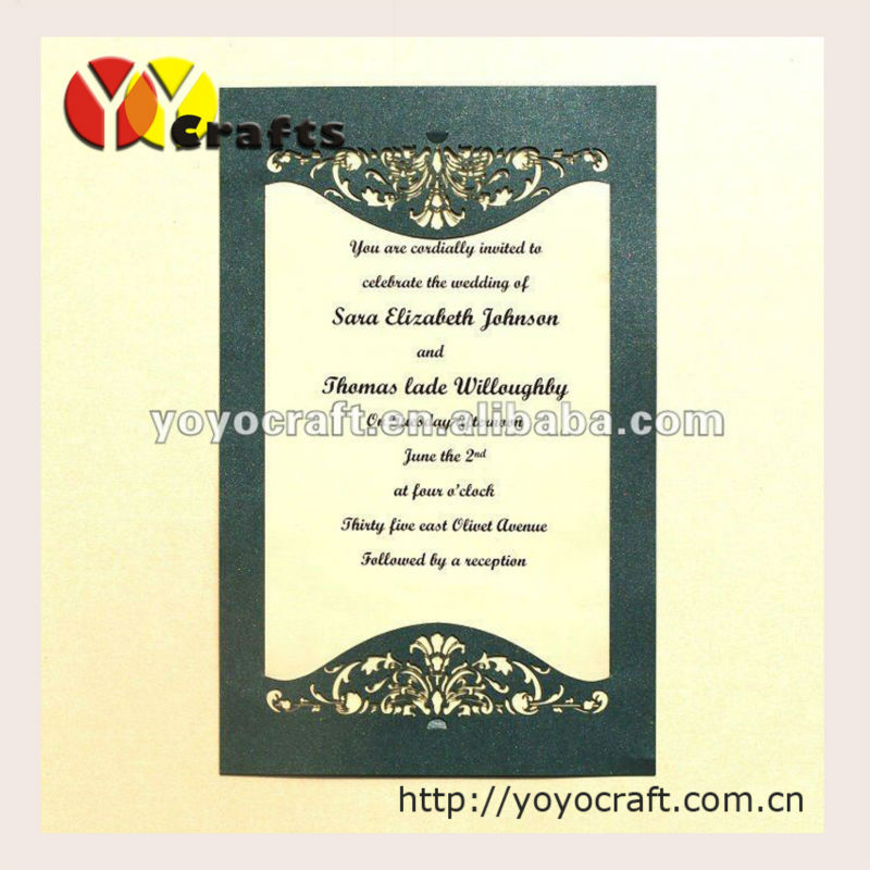 Laser Cutting Customized Wedding Party Invitation Card Birthday