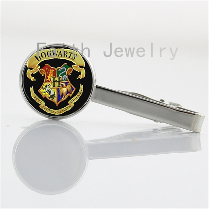 Hot sale Hogwarts Magic School case for Harry pot Logo tie clips Harry's Stag Patronus art picture tie bar handmade NS064