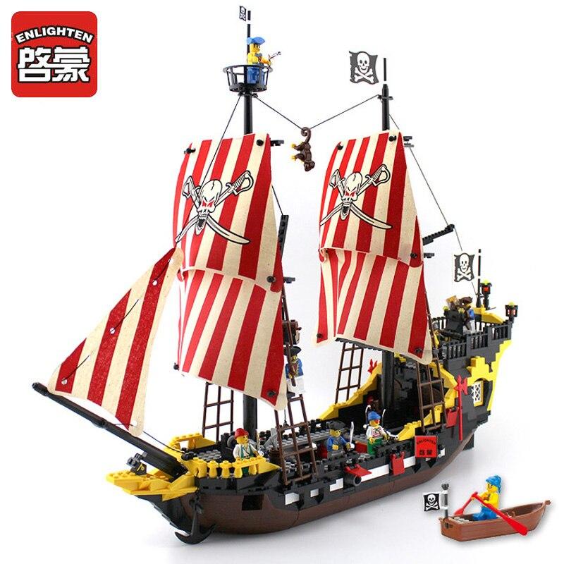 Éclairer Blocs 870 + pièces Pirates Bateau Noir Perle Modèle Compatible Avec légèreté blocs de Construction Éducatifs Bâtiment Jouets Enfants cadeau