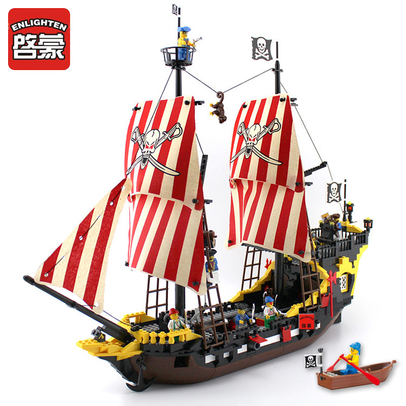 Enlighten Blocks 870+pcs Pirates Ship Series Black Pearl Model Building Blocks Bricks Educational Toys Gifts Compatible Lepin lepin 22001 pirates series the imperial war ship model building kits blocks bricks toys gifts for kids 1717pcs compatible 10210