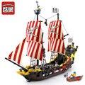 Iluminar bloques de 870 + piezas barco de piratas Perla Negra Modelo Compatible LegoINGly educativos bloques de construcción juguetes de los niños regalo