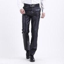Бренд thoshine весна-осень, мужские кожаные брюки с высокой талией, Модные Смарт-повседневные мужские брюки из искусственной кожи, брюки размера плюс, больше размера