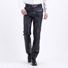 693db510bf Thoshine Brand Spring Aumumn Men Leather Pants High Waist Fashion Smart  Casual Male PU Faux Leather