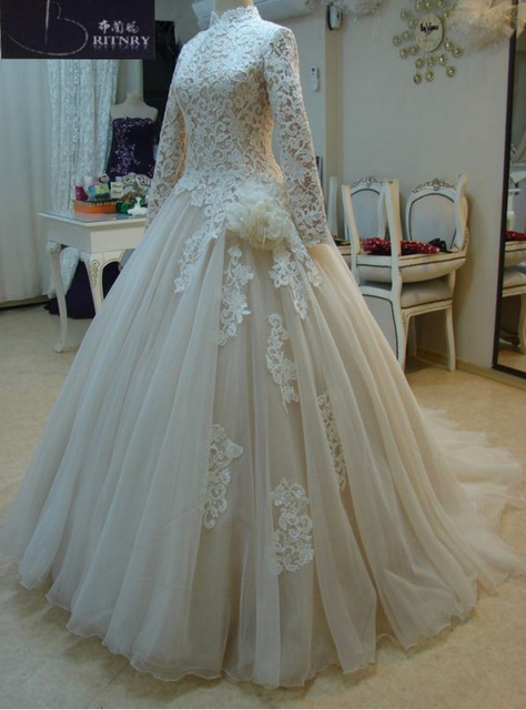 High Neck Ball Gown Wedding Dress Lace Long Sleeves Champagne Organza Muslim  Wedding Dress Plus Size bdbb39083b62