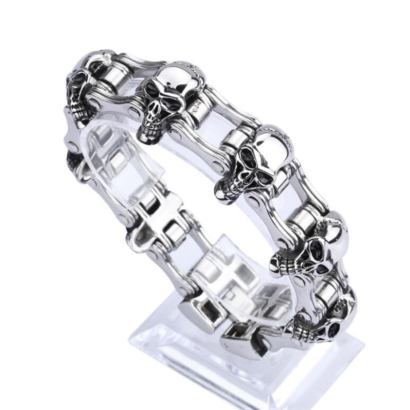 SHIDU 23MM Wide Skull Bracelet Men Cool Solid Heavy Stainless Steel Punk Bicycle Chain Men's Bracelets Male Jewelry Wristband 23mm width punk stainless steel bracelet men double biker bicycle motorcycle chain men s bracelets mens big bracelets