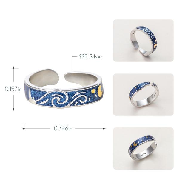Thaya Genuine Van Gogh's Enamel Rings Jewelry 925 Silver Glitter Deer Sky Gold Moon Star Canvas Finger Ring Romantic for Women