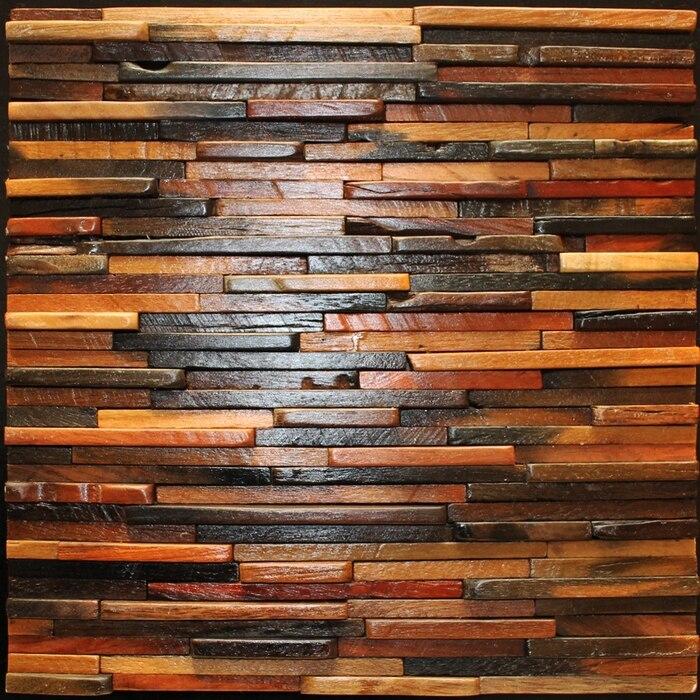 Natural wood backsplash 3D log wood tile kitchen backsplash mosaic