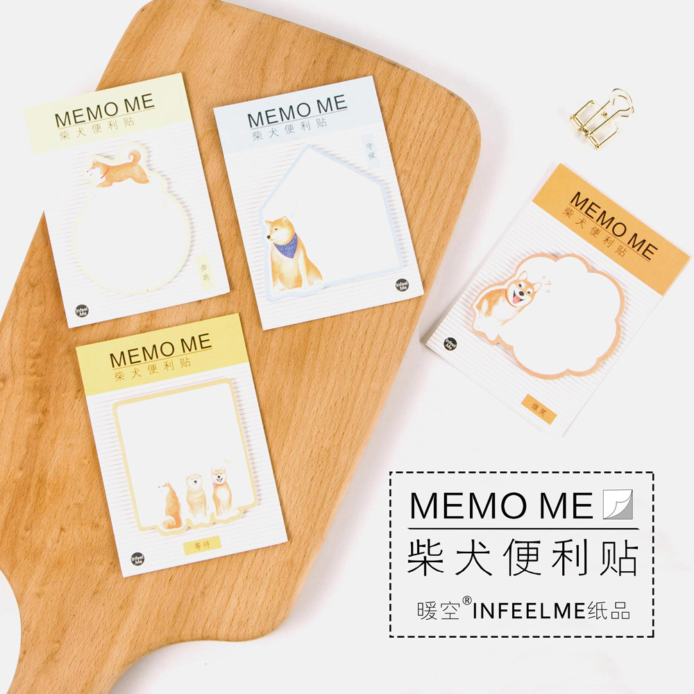 12 sets/1 lot Creative Shiba Inu Memo Pad Sticky Notes Escolar Papelaria School Supply Bookmark Post it Label