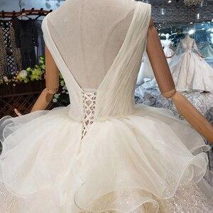 Image 4 - HTL293 Open back sleeveless Wedding Dress with wedding veil tassel backless  v neck shiny bridal dress элегантное платье