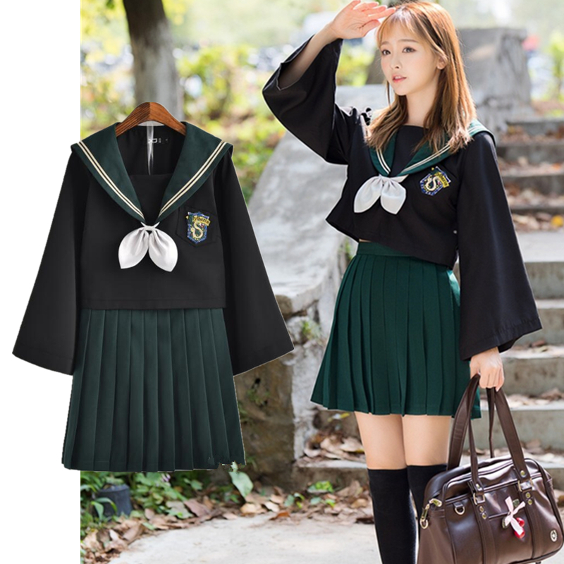 HP Slytherin Girls Womens Cosplay Costumes Lolita Sailor JK Uniform Skirt Sets