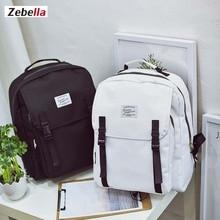 Zebella Black Women Canvas Fashion Backpack Laptop Printing Pure Vintage Backpack For Girls Feminine Youth Kanken Travel Bags
