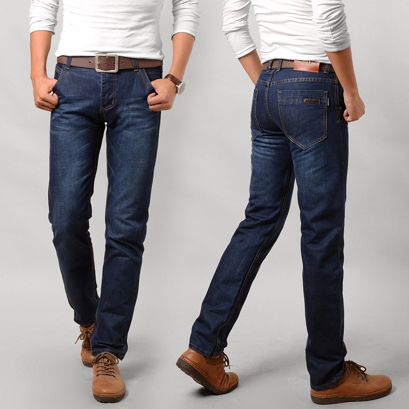 2019 New Men's Fashion   Jeans   Business Casual Stretch Slim   Jeans   Classic Trousers Denim Pants Male Size 28-38