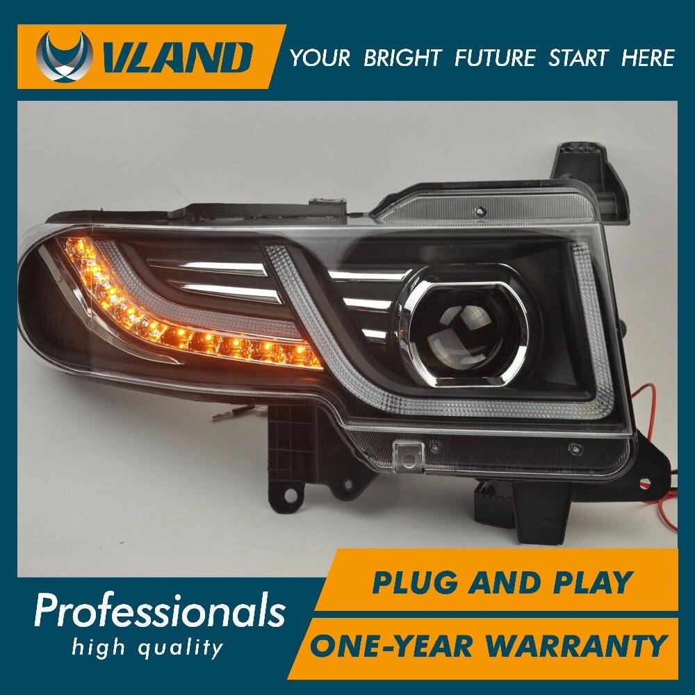 VLAND auto lamp For FJ Crusier 2007 2012 2014 LED headlight and middle Grill BI-xenon projectors