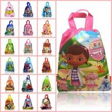 50Pcs Doc Mcstuffins/Super Mario/Avengers Random Children Drawstring Backpacks Bags 34*27cm Non Woven Fabrics Kids Home Storage