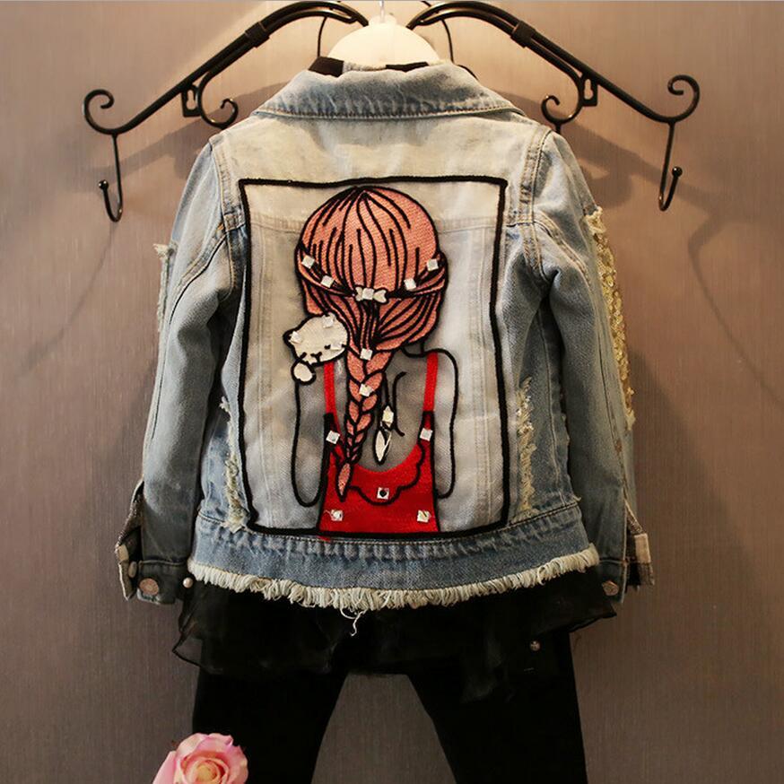 Brand Baby Girls Hole Denim Jackets Coats Fashion Children Outwear Coat Sequins Little Girl Design Girls Kids Jeans Jacket spring outfits for kids