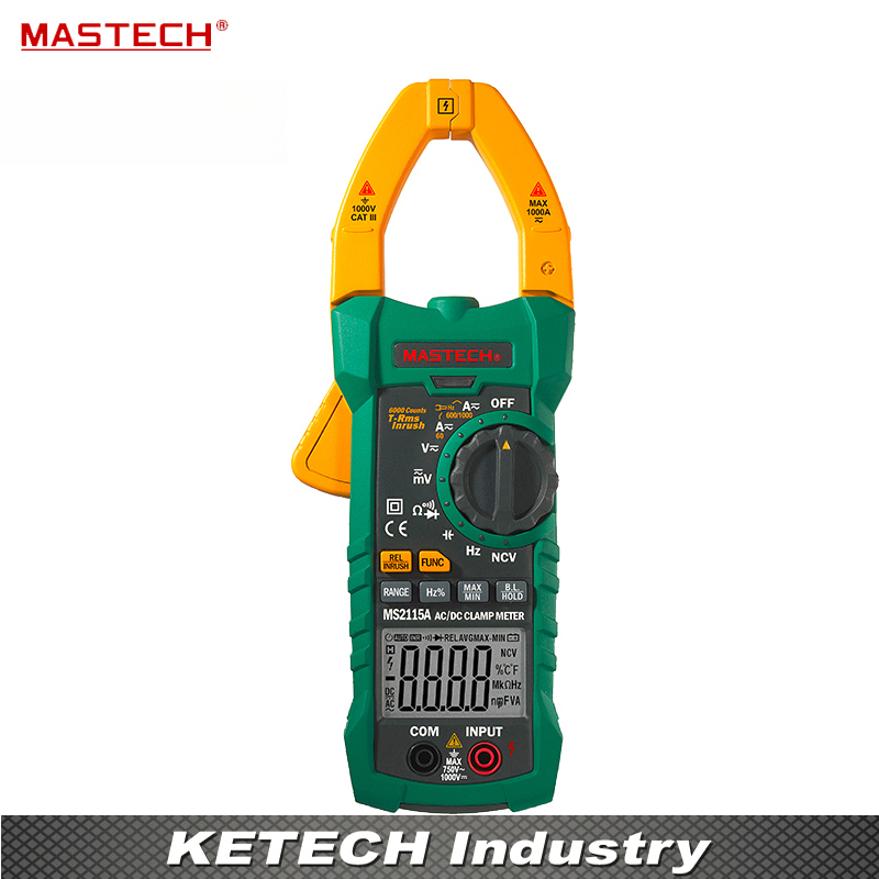 Digital DC/AC Clamp Meter Voltage Current Resistance Capacitance Tester True RMS MASTECH MS2115A usb interface multimeter tester test true rms ac dc current voltage resistance capacitance diode temperature duty cycle meter