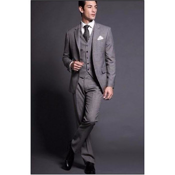 Fashion Center Vent Groom Tuxedos Notch Lapel Best man Suit Grey Groomsman Bridegroom Wedding Prom Suits (Jacket+Pants+vest