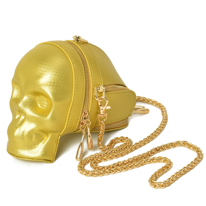 New Fashion Gothic Retro Rock  Skull Bag Halloween Women Messenger Bags Black And Gold Women Mobile Phone Shoulder Bags  3