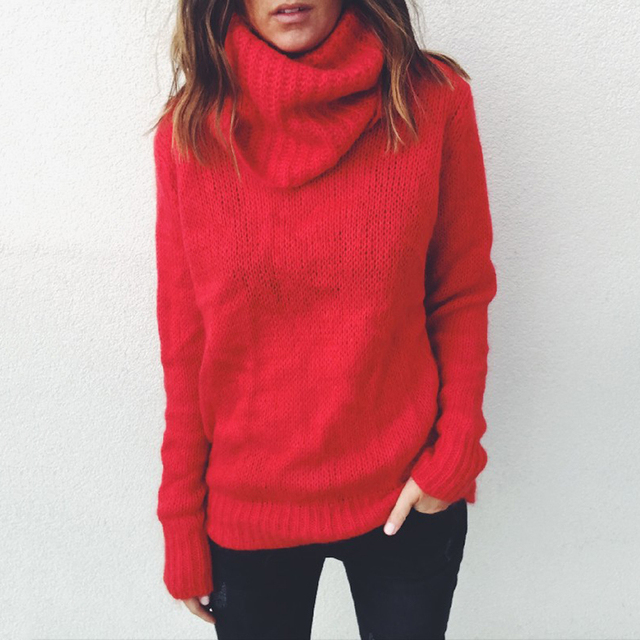 8f9b16ec10c Women Winter Knitted Sweater Top High Neck Long Sleeve Cable Knit Jumper  Pullover Turtleneck Chunky Womens Sweaters Tops