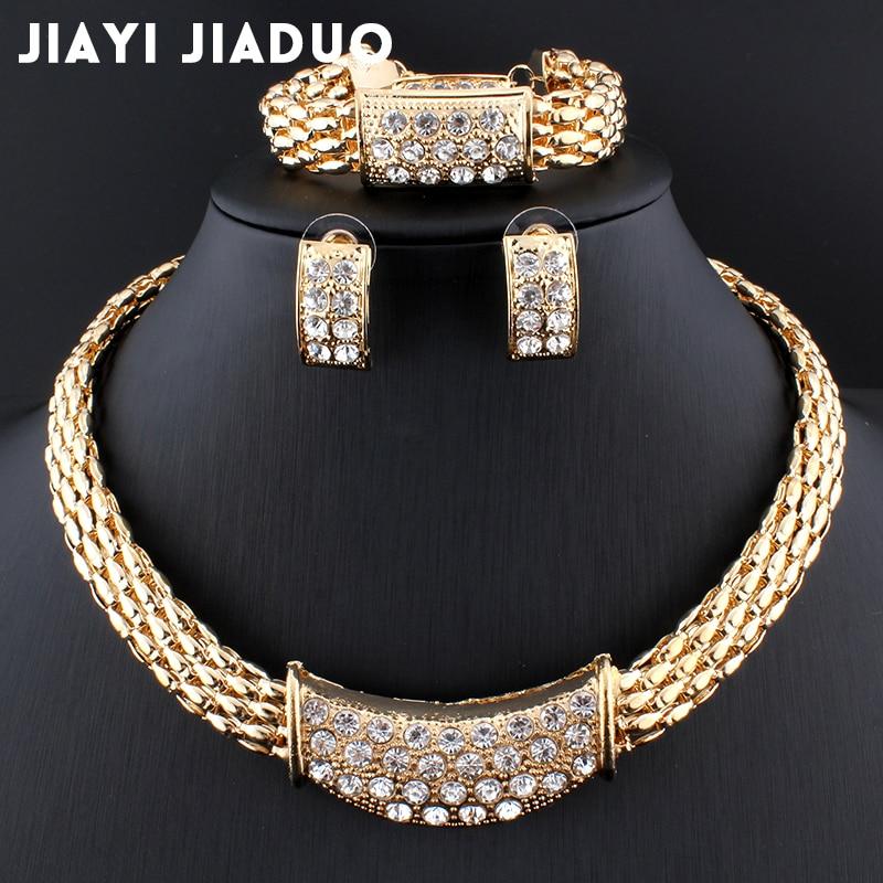 Offizielle Website Jiayijiaduo Neue Mode Gold-farbe Frauen Afrikanische Perlen Kostüm Halskette Ohrringe Sets Kristall Hochzeit Braut Schmuck Sets Brautschmuck Sets