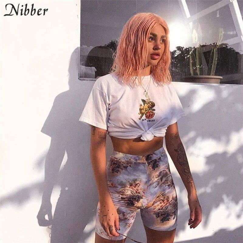 Nibber women Cute Cupid print shorts Milk silk Skinny Elastic Slim fit Soft  Sports leisure shorts2019 wild fashion new hot sale