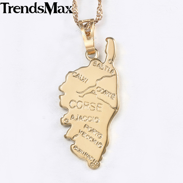 Corse Corsica Map Pendant For Women Champagne Gold Smooth French ...