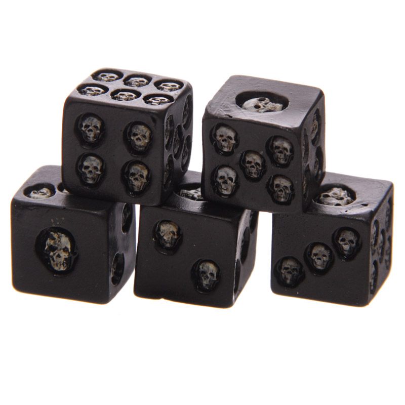 1Set of 5 Nemesis Black Skull Dice Grinning Skull Deluxe Devil Poker Dice Gothic Gambling Dice Tower With Death Gaming Geek Dice