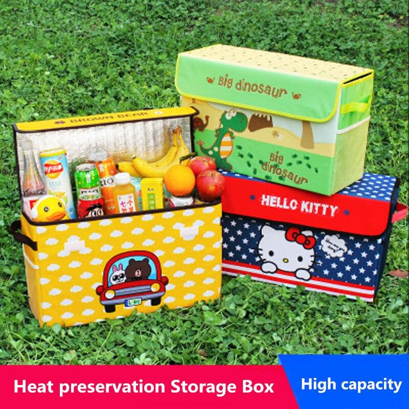 Мультфильм багажник автомобиля органайзера коробка для хранения складной Рисунок «Hello Kitty» Авто бутылка инструмент Еда Organizador Оксфорд мешо...