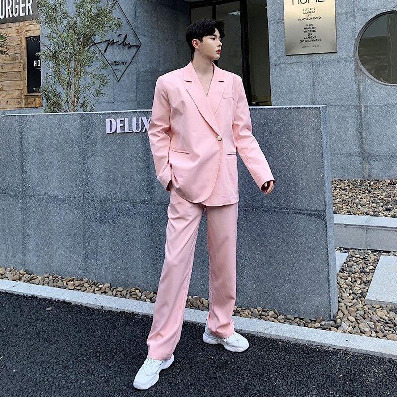 Men 2 PCS Sets (jacket+pant) High Street Fashion Casual Suit Pink Blazer Jacket Male Women Party Stage Show Singer Suits Coat