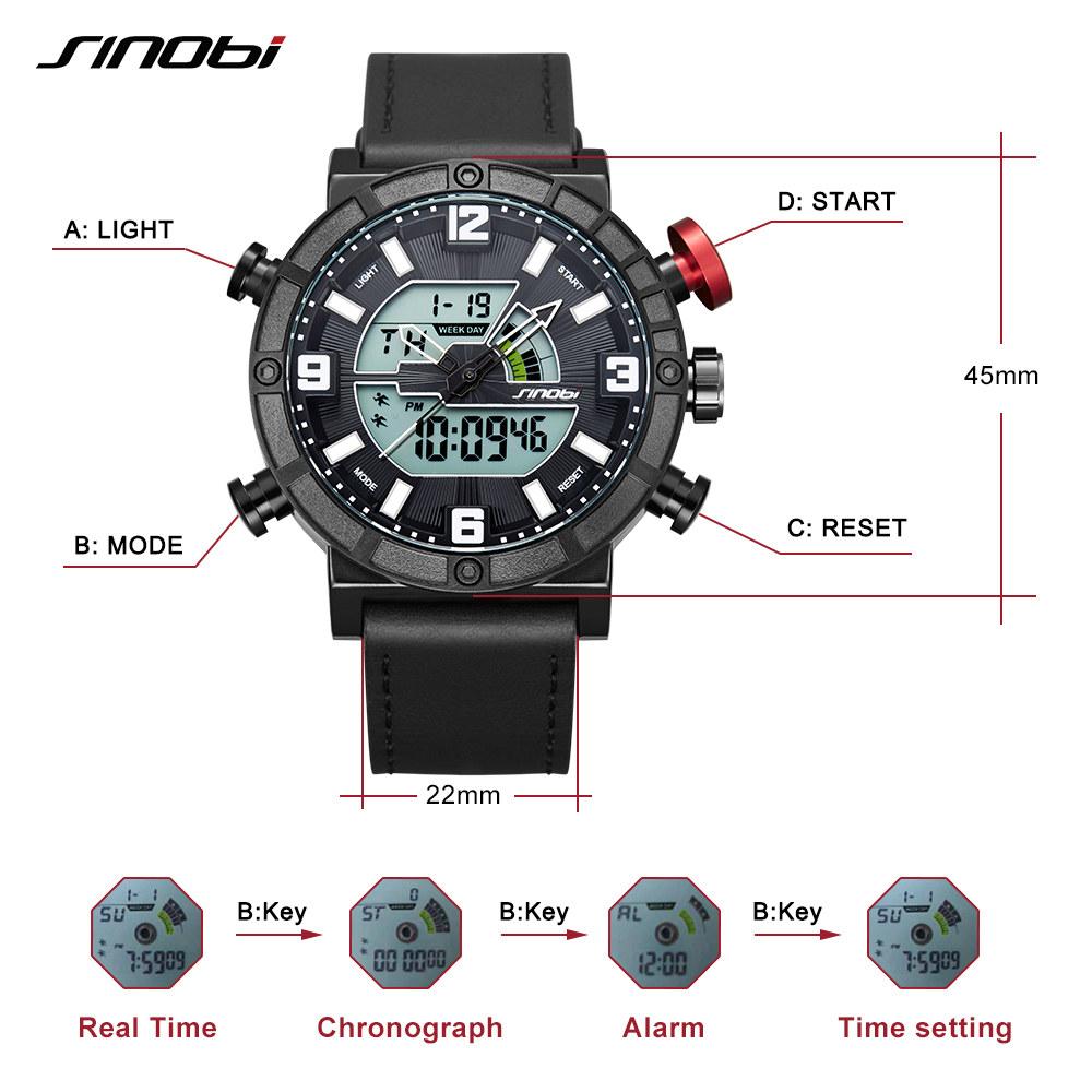 Details of Luxury Men Sport Watch Dual Display LED Display