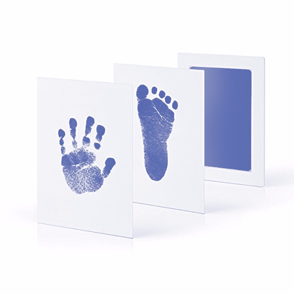 Taoqueen Blue Footprints  Baby Hand Foot Print And Stamp Pad Ink Leave Footprints  Baby Souvenirs Blue Footprints