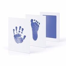 Taoqueen Blue footprints  Baby Hand Foot Print And stamp pad ink leave footprints  Baby Souvenirs Blue footprints