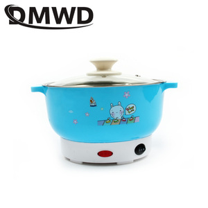 Image 5 - DMWD Multifunctional electric cooker MINI heating pan Stainless Steel Hotpot noodles rice Steamer Steamed eggs Soup pot 2L EU US