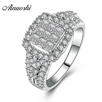 AINUOSHI Classic 925 Sterling Silver Women Wedding Ring Lady Engagement Anniversary Ring Lover Party Anniversary Girls Jewelry