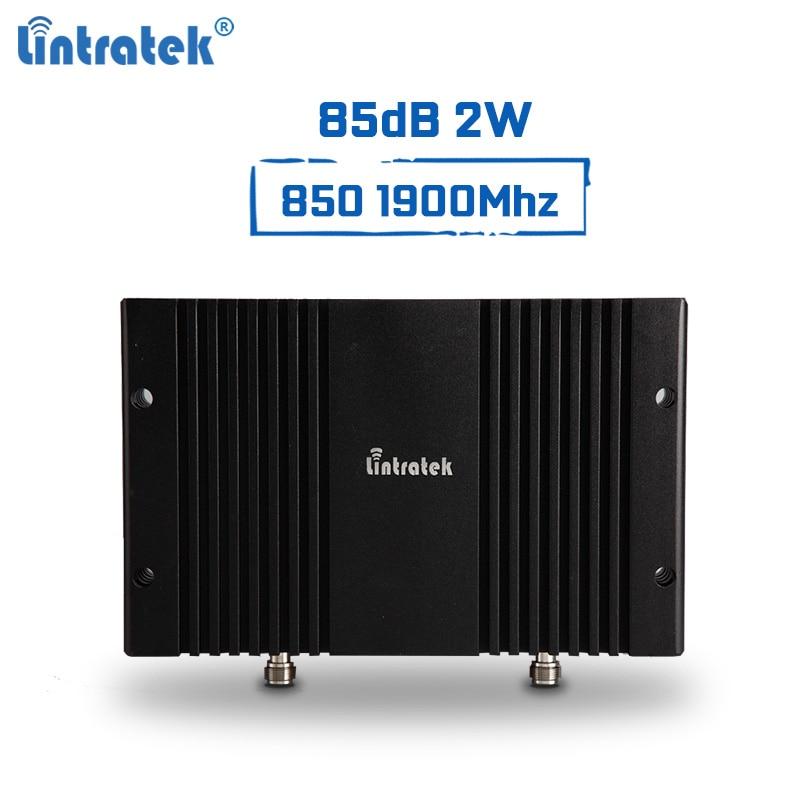 Amplificateur de Signal puissant Lintratek répéteur 850 Mhz 1900 Mhz 2G 3G B3 B5 répéteur 85dB 2 W 33dBm amplificateur de Signal Mobile PCS CDMA