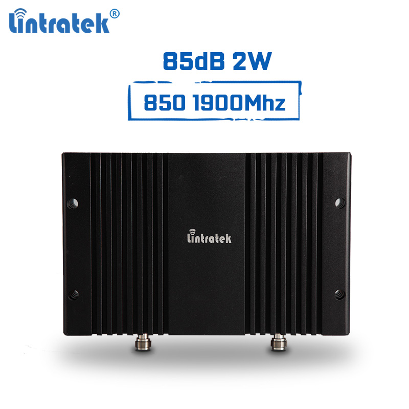 Lintratek Powerful Signal Booster 850Mhz 1900Mhz Repeater 2G 3G B3 B5 Repeater 85dB 2W 33dBm Mobile Signal Amplifier PCS CDMALintratek Powerful Signal Booster 850Mhz 1900Mhz Repeater 2G 3G B3 B5 Repeater 85dB 2W 33dBm Mobile Signal Amplifier PCS CDMA
