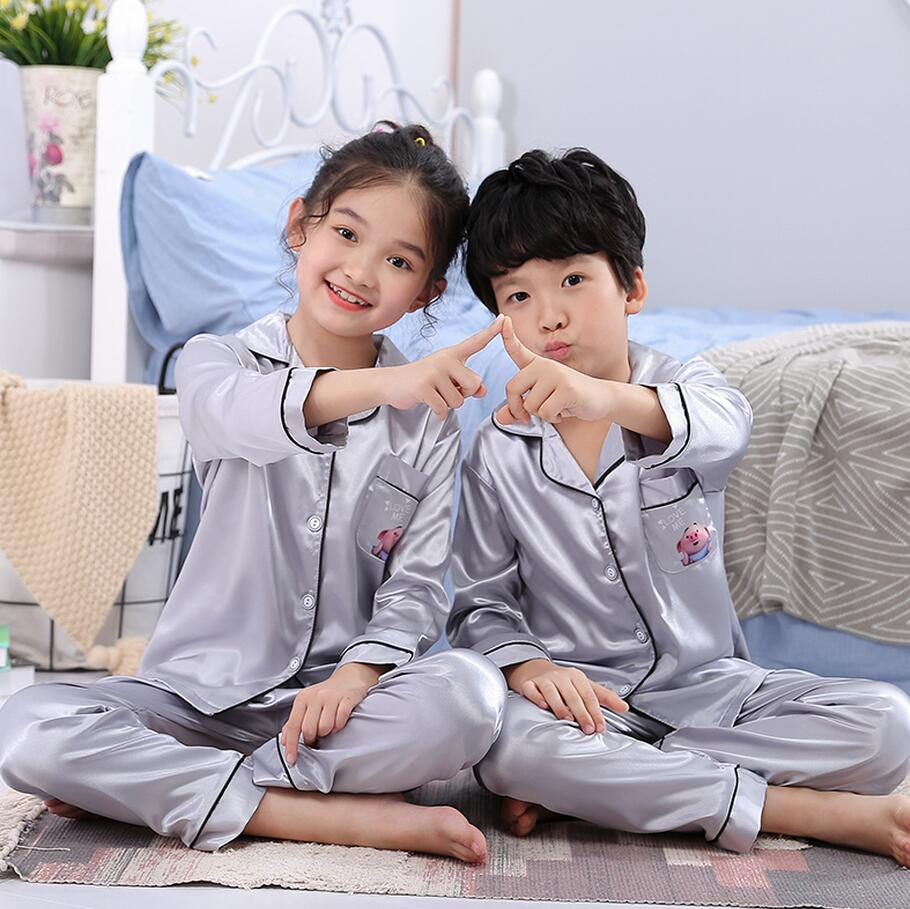 Hot Autumn Spring Silk Children Pajamas Set Long Sleeve Girl Cloth Set Lovely Kid's Pyjamas Boy Sleepwear Clothes Gift eye mask(China)