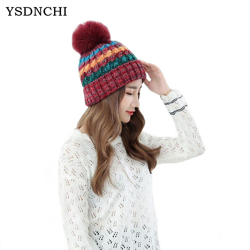 YSDNCHI 2017 Casual Wool Hat Winter Outdoor Fur Ball Cap Ladies Keep Warm Plush Knitted Hats Women Beanie Caps Patchwork Color zhaohui autumn winter pearl wool hat outdoor hair ball cap warm knitted lady caps